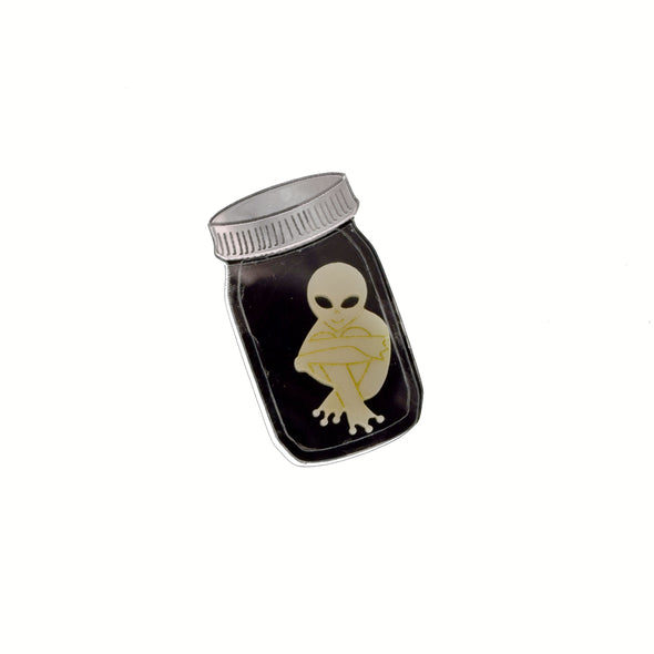 Jar with Alien Baby Brooch
