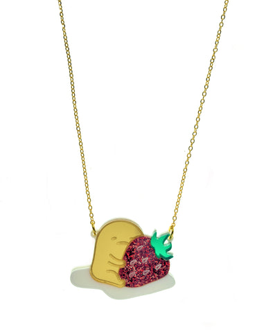 Gudetama Hugs a Strawberry Necklace