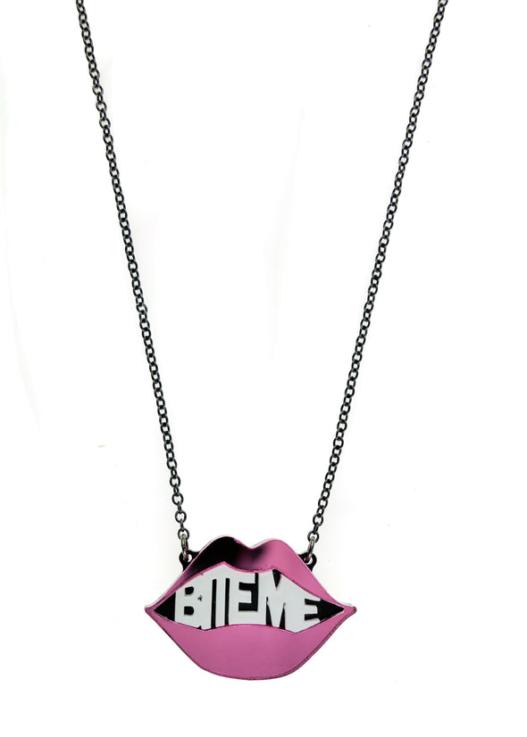 Bite Me Necklace in Mirror Pink