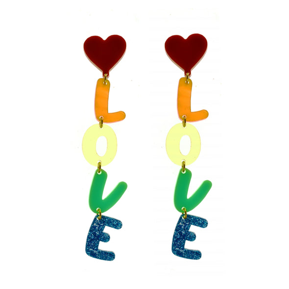 Love Is Love Rainbow Dangle Earrings