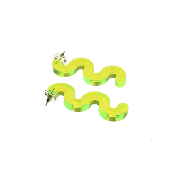 Squiggle Earrings - Transparent Green