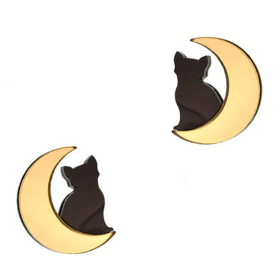 Cat in Moon Earrings