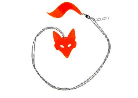 Fox & Tail Necklace in Orange