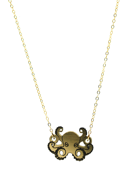 Octopus Necklace in Gold/Black
