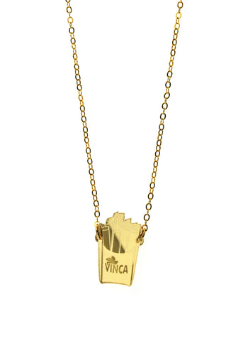 French Fry Necklace in Mirror Gold