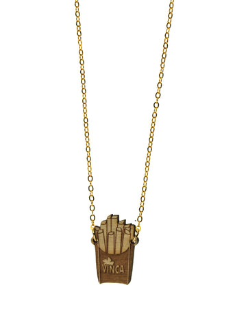 French Fry Necklace in Birch Wood