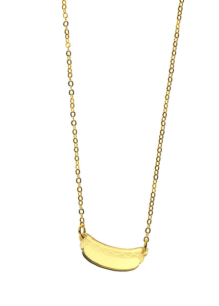 Hot Dog Necklace in Mirror Gold