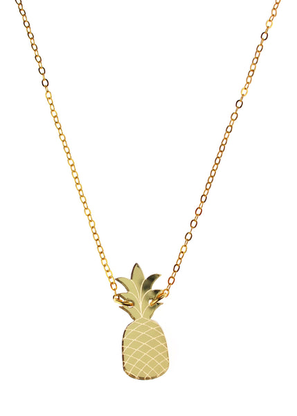Pineapple Necklace in Mirror Gold
