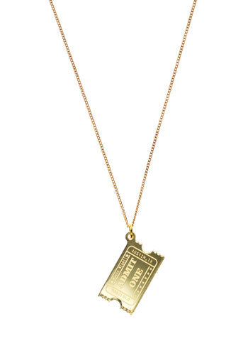 Shiny Golden Ticket Necklace