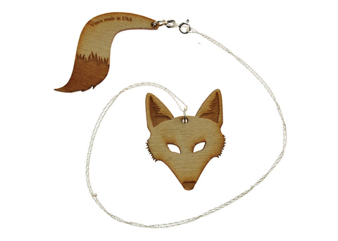 Fox & Tail Necklace in Birch Wood