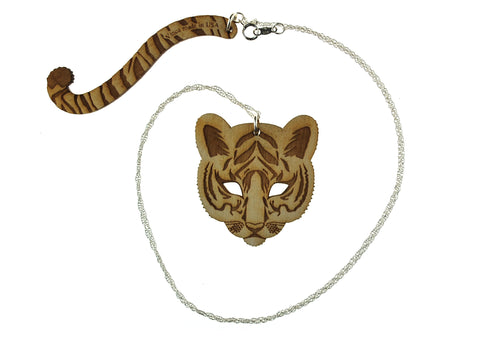 Tiger & Tail Necklace in Birch Wood