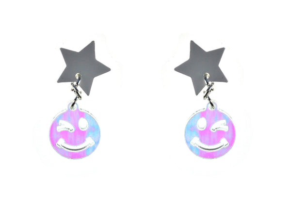 Star/Wink Dangle Earrings in White and Iridescent Hologram