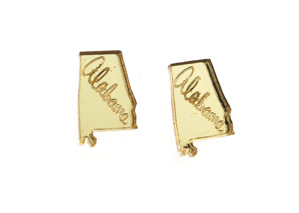 State Pride Earrings in Birch Wood or Mirror Gold