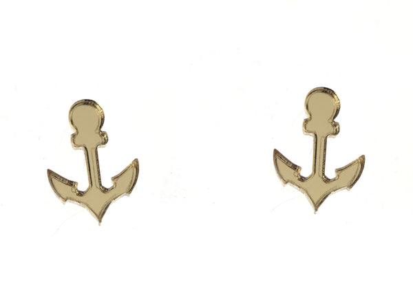 Anchor Earrings in Mirror Gold