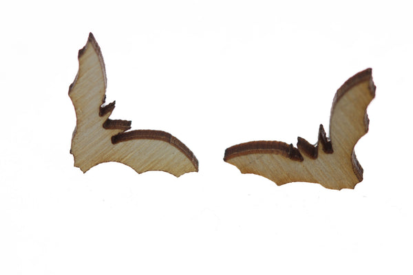 Bat Earrings in Birch Wood