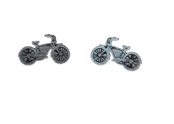 Bike Earrings in Silver/Black