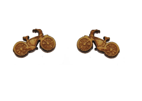 Bike Earrings in Birch Wood