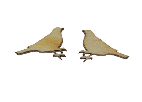 Bird Earrings in Birch Wood