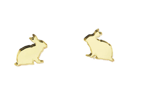 Bunny Rabbit Earrings in Mirror Gold