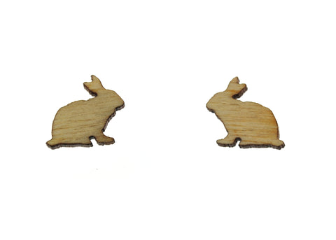 Bunny Rabbit Earrings in Birch Wood