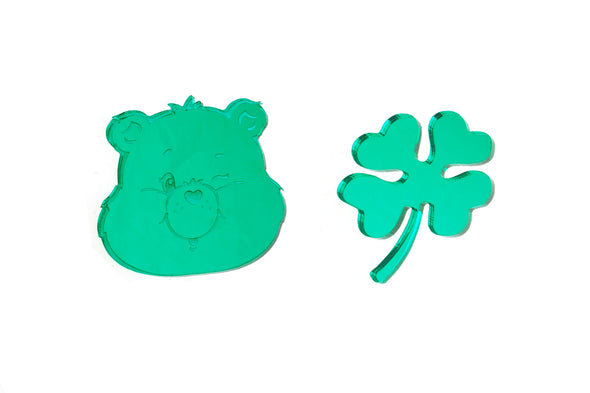 XL Care Bears™ Good Luck Bear Face/Clover Earrings ~ FINAL SALE