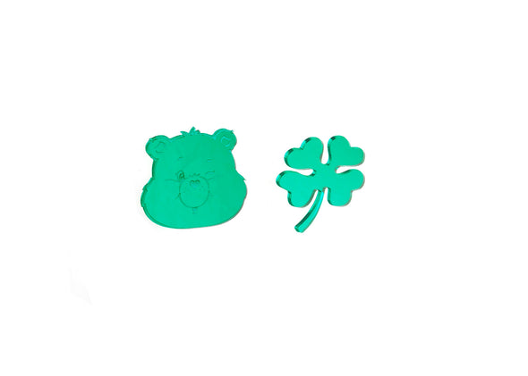 Care Bears™ Good Luck Bear Clover & Face Earrings, SMALL FINAL SALE