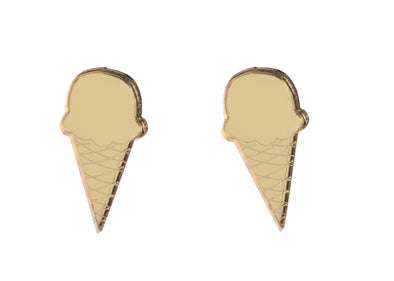Ice Cream Cone Earrings in Mirror Gold