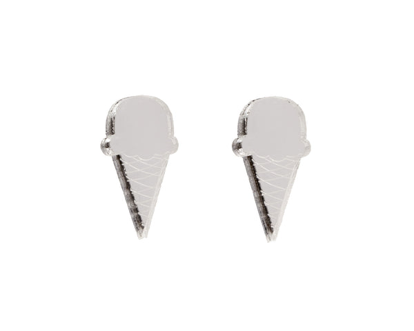 Ice Cream Cone Earrings in Mirror Silver