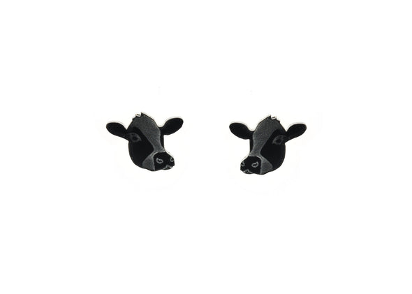Cow Face Earrings in Black/White