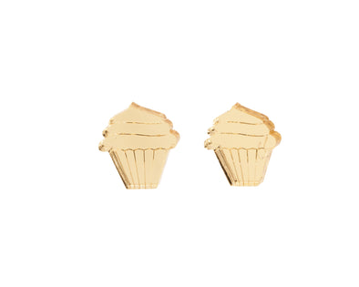 Cupcake Earrings in Mirror Gold