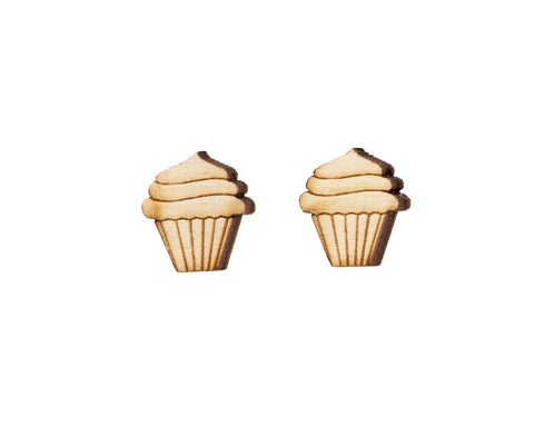 Cupcake Earrings in Birch Wood