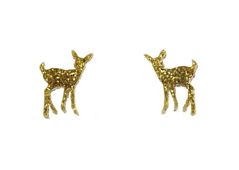 Deer Earrings in Glitter Gold