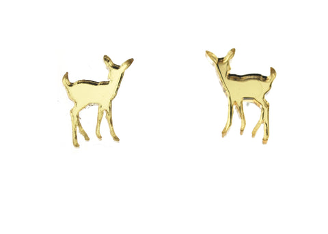 Deer Earrings in Mirror Gold