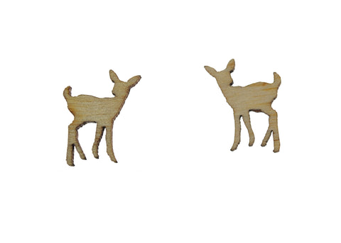 Deer Earrings in Birch Wood