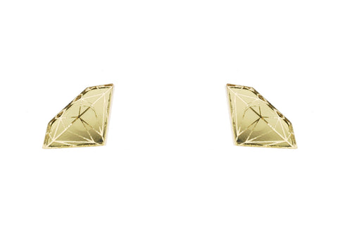 Diamond Earrings in Mirror Gold