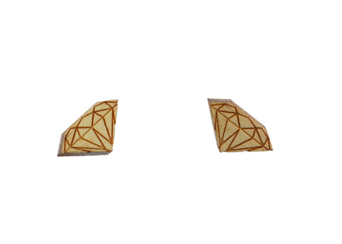 Diamond Earrings in Birch Wood