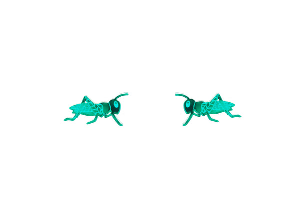 Grasshopper Earrings in Mirror Green