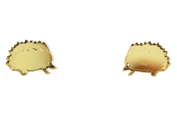 Hedgehog Earrings in Mirror Gold