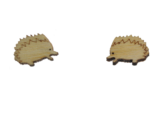 Hedgehog Earrings in Birch Wood