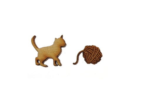 Kitten & Yarn Earrings Set of Two in Birch Wood