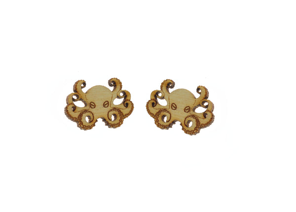 Octopus Earrings in Birch Wood