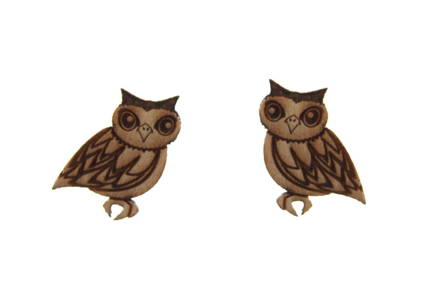Owl Earrings in Birch Wood