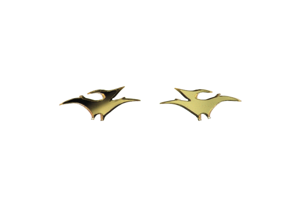 Pterodactyl earrings in Mirror Gold