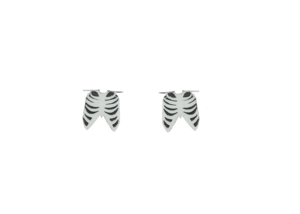 Ribcage Earrings in White/Black
