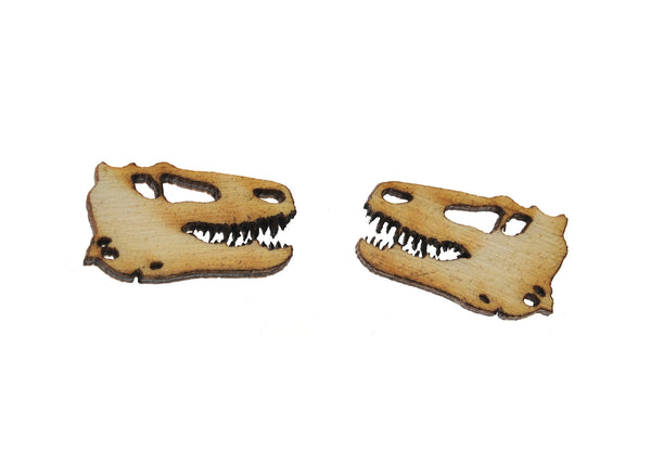 T-Rex Skull Earrings in Birch Wood