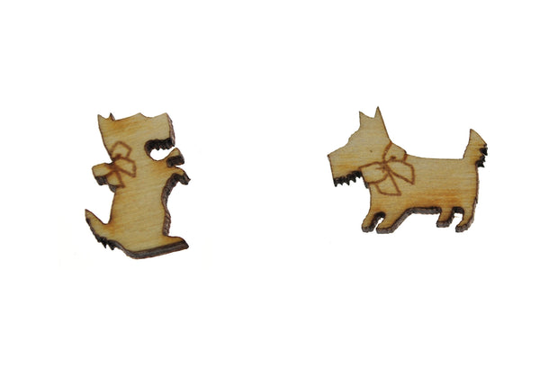 Scottie Dog Earrings in Birch Wood
