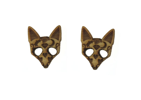 Sugar Fox Earrings in Birch Wood