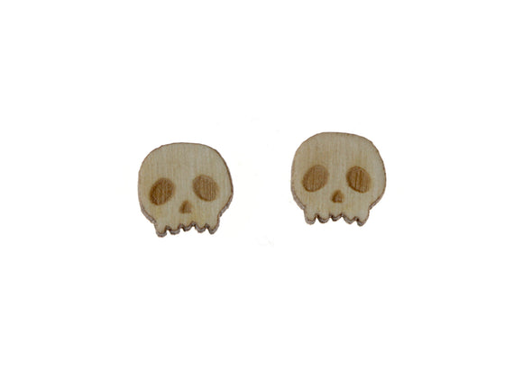 Skull Earrings in Birch Wood