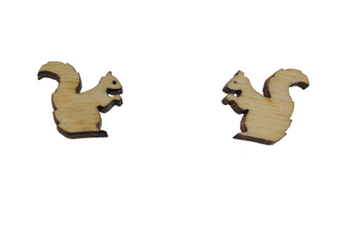 Squirrel Earrings in Birch Wood
