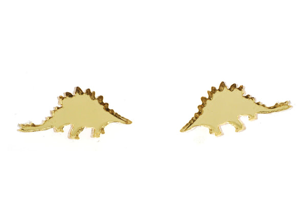 Stegosaurus Earrings in Mirror Gold